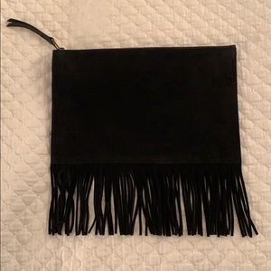 Madewell Black Suede/Leather Clutch